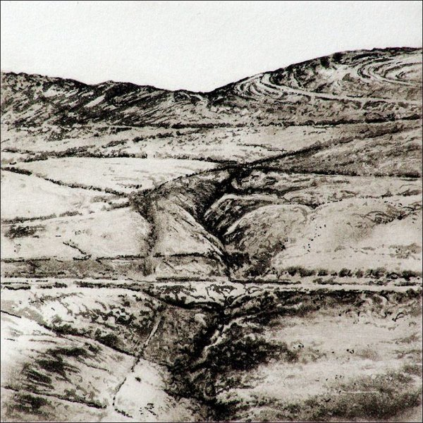 Green Holes Clough - etching  003 framed