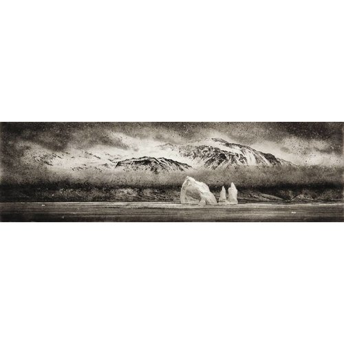 Ian Brooks Iceberg in Cumberland East Bay - etching 001 framed