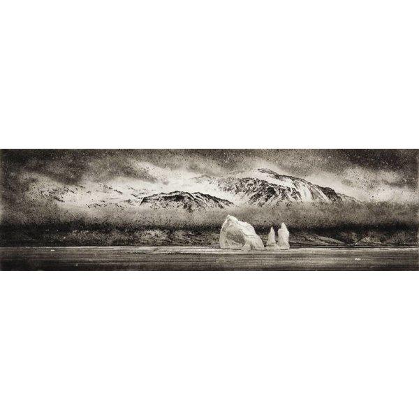 Eisberg in Cumberland East Bay - Radierung 001 umrahmt