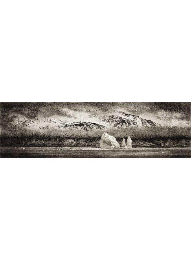 Eisberg in Cumberland East Bay - Radierung 001 gerahmt