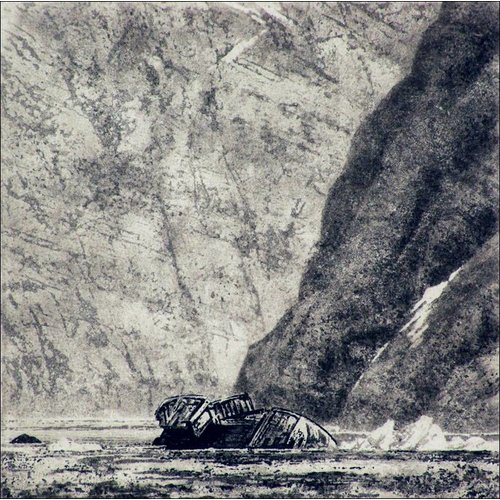 Ian Brooks The Wreck of The Lyn- etching 002 framed