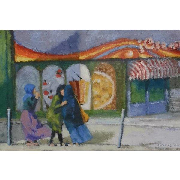 Ice Cream Parlour - oil framed  042