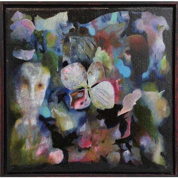 Hortensia pétalos - aceite enmarcado 013