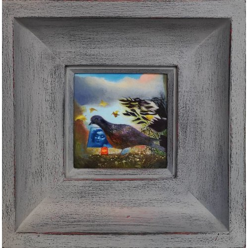 Sara Philpott Phone Pigeon - oil framed 011