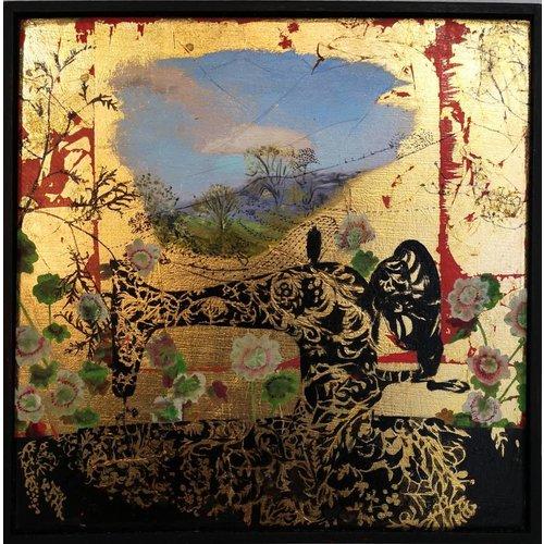 Sara Philpott Máquina de coser por mi ventana - aceite enmarcado 010
