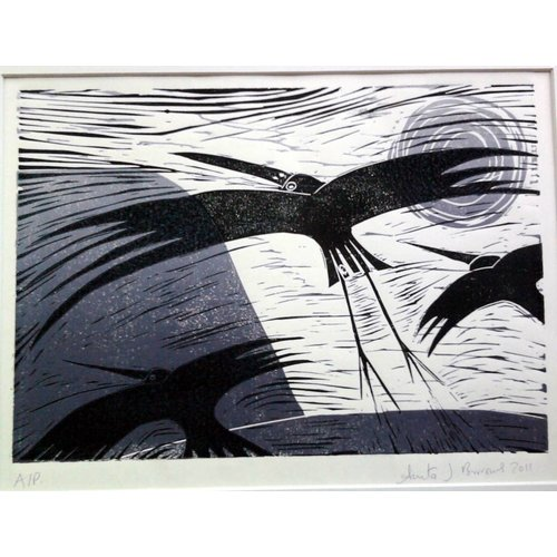 Anita J Burrows Nachtmigration - Linocut gerahmt 018