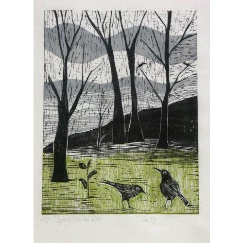 Anita J Burrows La primavera está en camino - Woodcut Framed 019