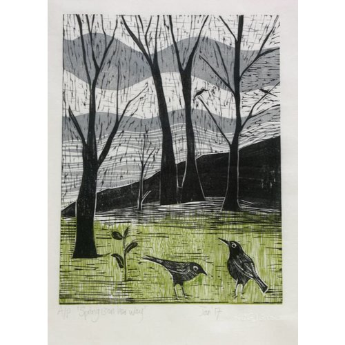 Anita J Burrows Spring is on Her Way - Woodcut Framed 019