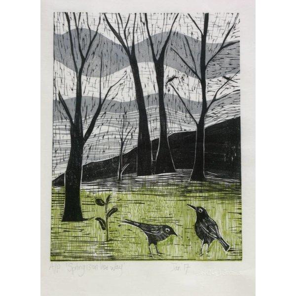 Der Frühling ist auf dem Weg - Woodcut Framed 019
