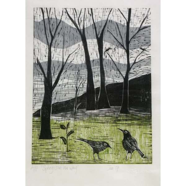 Spring is on Her Way - Woodcut Framed 019