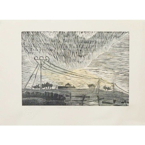 Anita J Burrows Westerlies Over Deerplay - Woodcut enmarcado 021