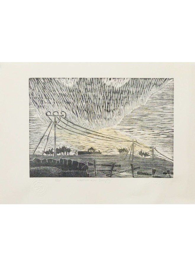 Westerlies Over Deerplay - Woodcut Framed 021