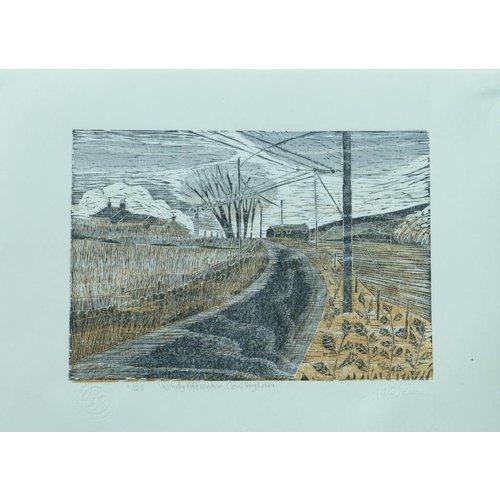 Anita J Burrows Windiger Nachmittag, Kuh Hey Lane-Woodcut Ungerahmt 025