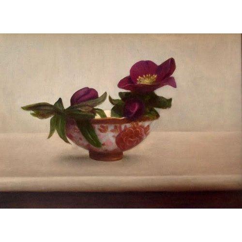Linda Brill Hellebores en Patterned Bowl - olie ingelijst 026
