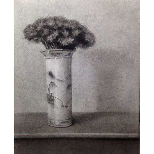 Linda Brill Sedum in a Blue and Wite Pot - charcoal framed 028