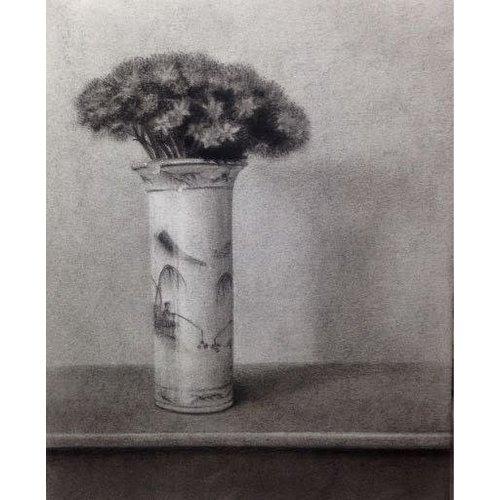 Linda Brill Sedum in einem blauen und weißen Topf - Holzkohle 028