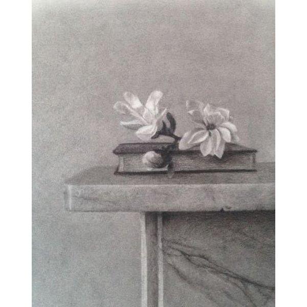 Magnolienblüte - Kohle gerahmt 029