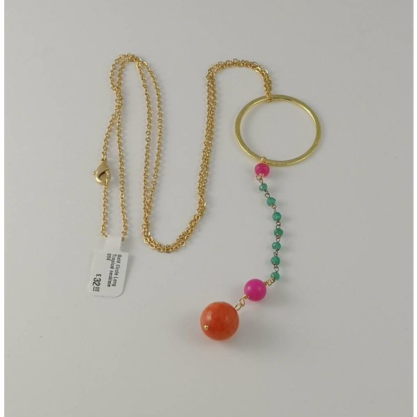 Gold Circle Long Tropical necklace 058