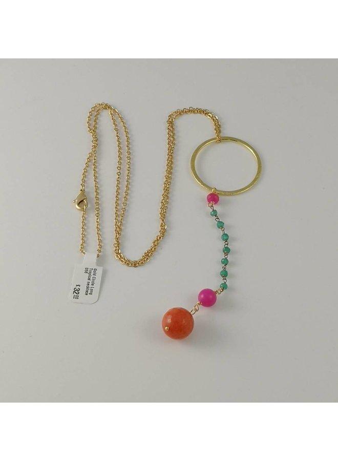 Goldkreis-lange tropische Halskette 058