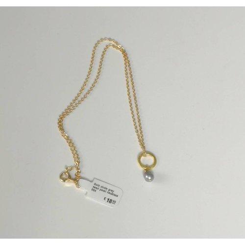 Ladies Who Lunch Collar de perlas de oro gris círculo 064
