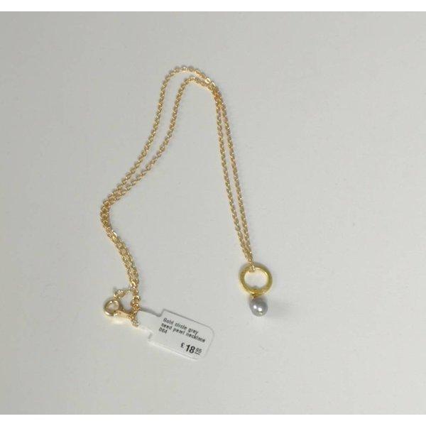 Collar de perlas de oro gris círculo 064