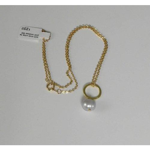 Ladies Who Lunch Collar de perlas de oro círculo blanco de grasa 066