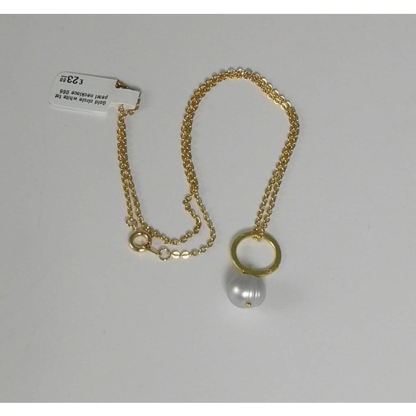 Gold circle white fat pearl necklace 066