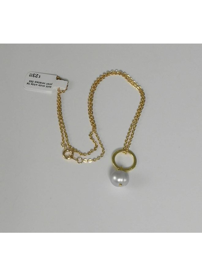 Goldkreis-weiße fette Perlenhalskette 066