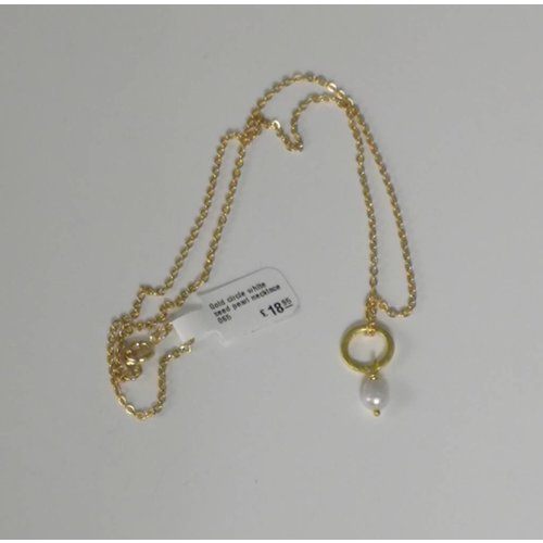 Ladies Who Lunch Gold circle white seed pearl necklace 065