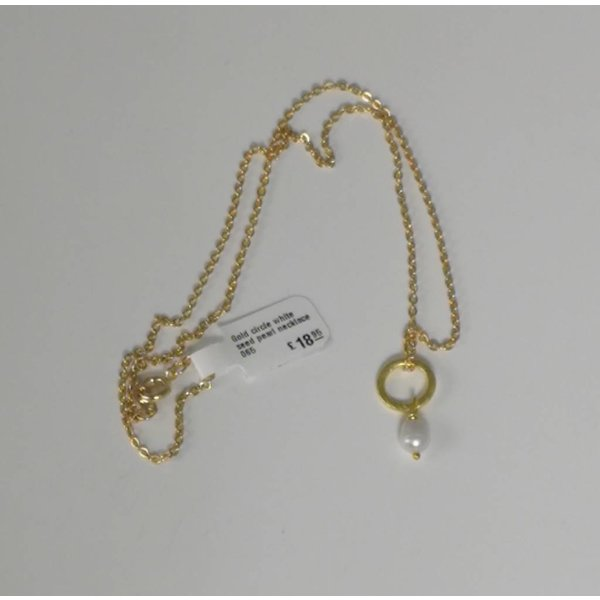 Gold circle white seed pearl necklace 065