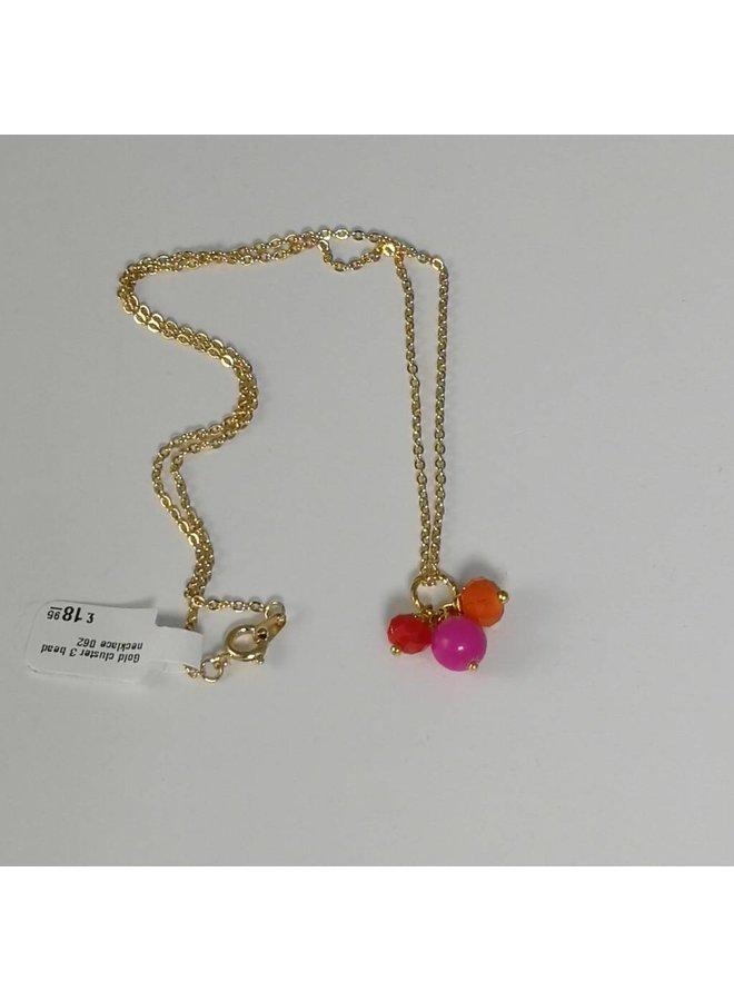 Halskette aus Goldcluster 3 mit Perlen 062