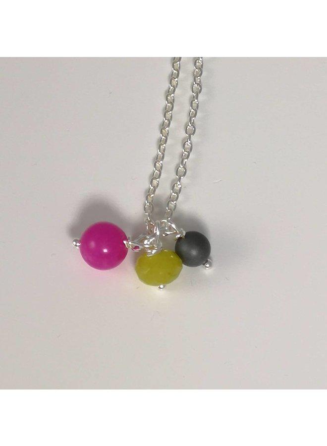 Halskette mit 3 Perlen aus Silber 061