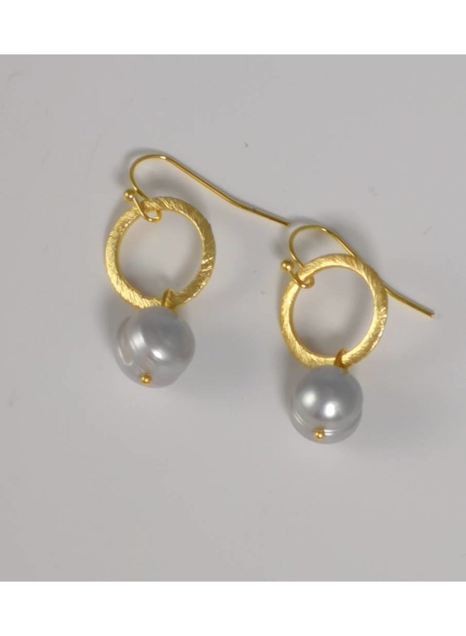 Goldohrring mit Perle und Ohrschmuck 044