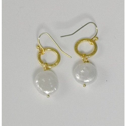Ladies Who Lunch Gold hoop and flat pearl drop earring 056