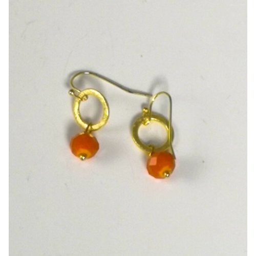 Ladies Who Lunch Gold tiny circle and orange drop earring  046