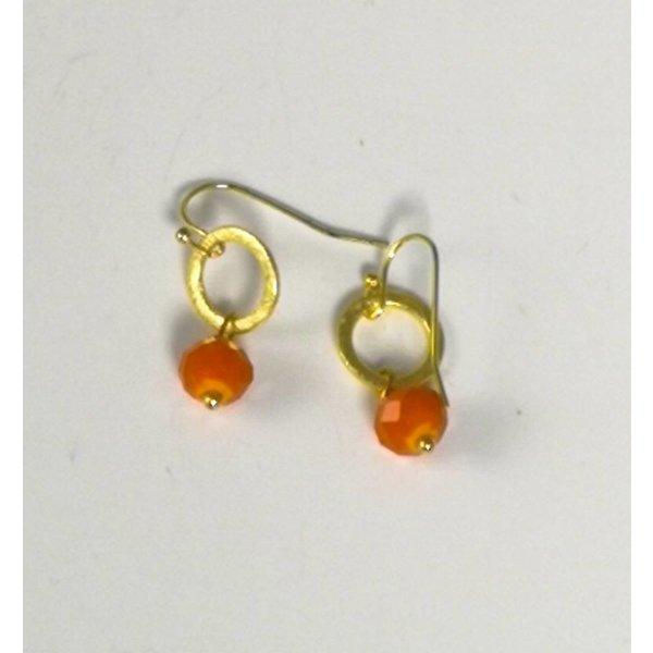 Gold kleiner Kreis und orangefarbener Tropfenohrring 046