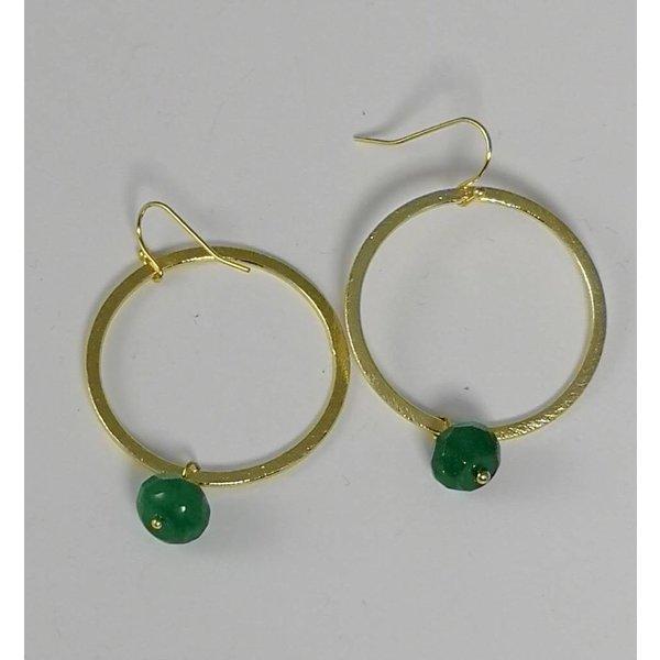 Gold x großer Kreis und grüner Tropfenohrring 045