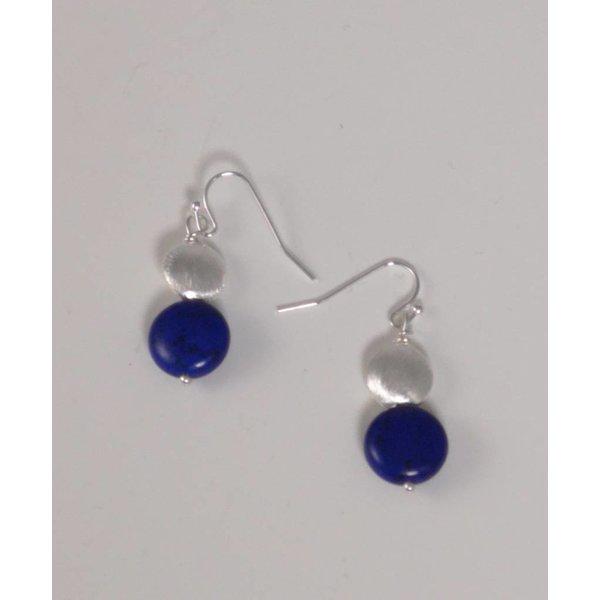 Pendiente de gota de howlita plata y azul marino 039