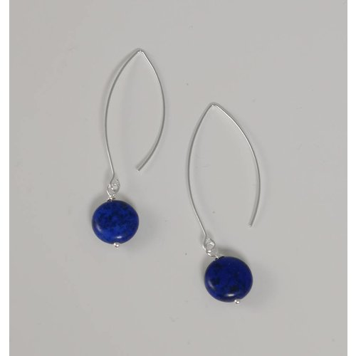 Ladies Who Lunch Silver and howlite navy long drop earring 049