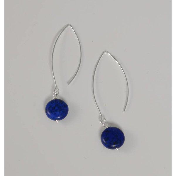 Pendiente largo plata y howlite azul marino 049