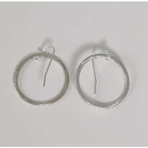 Ladies Who Lunch Silver etched hoop earring large 023