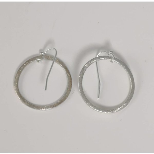 Silver etched hoop earring large 023
