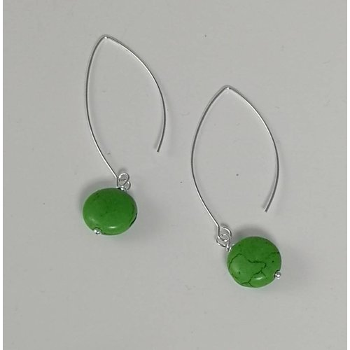 Ladies Who Lunch Silver green howlite long drop earring 050