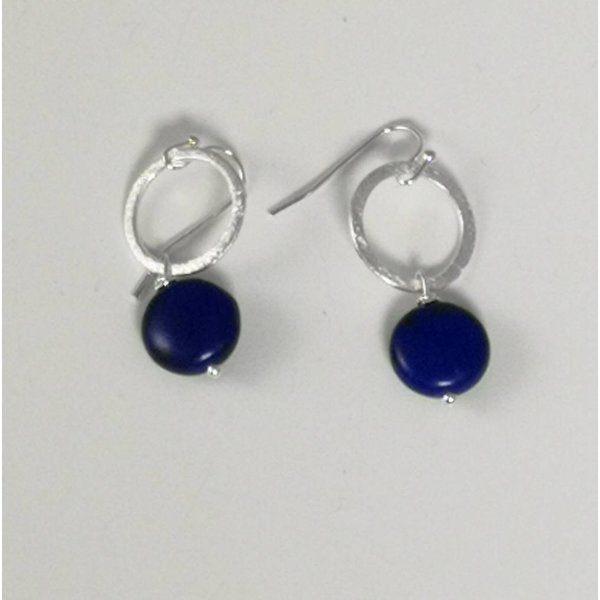 Silver hoop  navy howlite earring  038