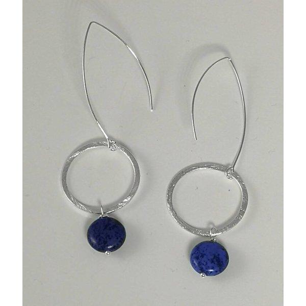 Silver hoop and navy howlite long drop earring 051
