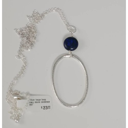 Ladies Who Lunch Silver large loop navy stone  necklace 067