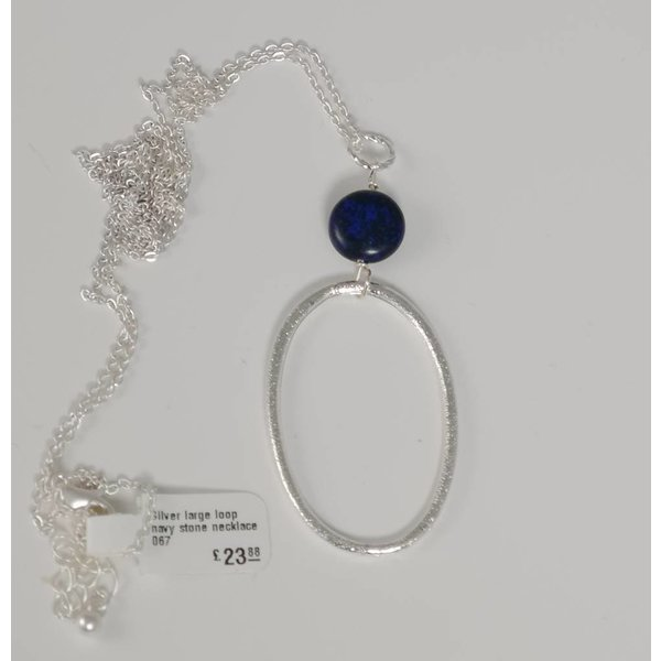 Silver large loop navy stone  necklace 067