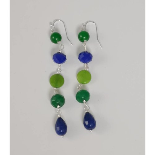 Ladies Who Lunch Silver Long 5 stone drop earring 052