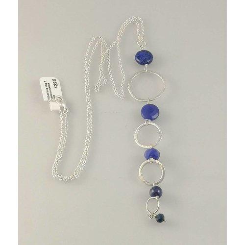 Ladies Who Lunch Collar largo plata 5 piedras azul marino 068