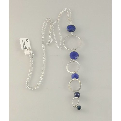 Ladies Who Lunch Silver long navy 5 stones  necklace 068